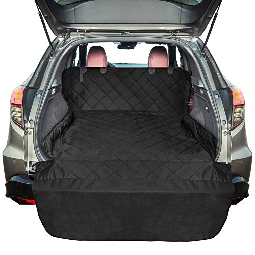FunniPets SUV Cargo Liner for Dogs, Waterproof Cargo Cover for SUV, Large Size Pet Seat Cover with Non-Slip Backing and Protective Bumper Flap, Black