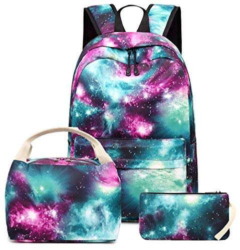 Girls School Backpack Galaxy Schoolbag Laptop Bookbag Insulated Lunch Tote Bag Purse Teens Boys Kids (Green Galaxy)