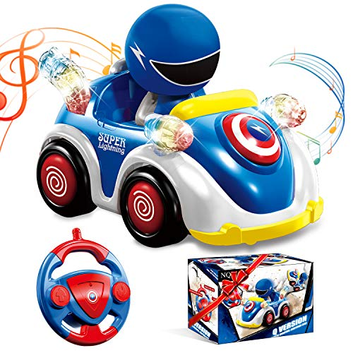 NQD Remote Control Cartoon Car for Toddlers with Music and Lights 24GHz Radio Control RC Race Car Educational Learning Toys for 3 4 5 6 Years Old Kids