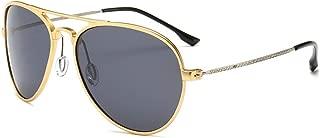 LUKEEXIN Men's Polarized Driving Sunglasses, Ultra Light, Retro,UV Protection (Color : Gold)