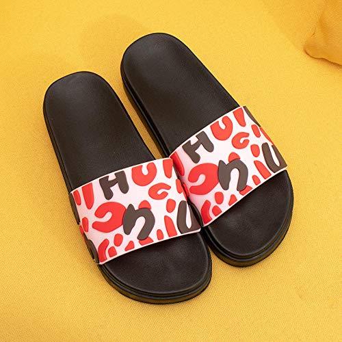 XZDNYDHGX Zapatos De Playa Y Piscina,Zapatillas con Letras de Verano para Mujer, Sandalias deslizantes, toboganes de Playa, Chanclas Antideslizantes para Mujeres y Hombres para Amantes de la UE 37-38