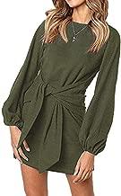 ALAIX Women's Casual Dress Crewneck Long Sleeve Bandage Mini T Shirt Dress