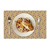 Eloria - Set di 6 tovagliette all'americana con motivo floreale, resistenti al calore, per tavolo da pranzo, in tela di cotone, colore: senape, dimensioni: 40 x 30 cm
