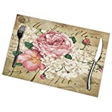 KiuLoam Vintage Shabby Chic Pink Rose Floral Placemats Set of 6 Heat Insulation Stain Resistant,Kitchen Dining Table Mats Decor 12 x 18 Inch (Set of 6)
