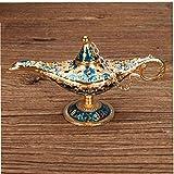Adore store Golden Blue Classic Vintage Aladdin Ligera aleación de Zinc Creativa Genie Vestuario Prop de la lámpara de Mesa Decoración Hogar