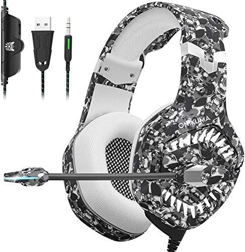 Auriculares para juegos para PS4, Auriculares Xbox One con cancelación de ruido de micrófono, Sonido envolvente estéreo 7.1, Luz...