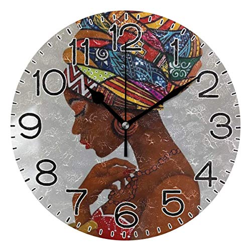 Mdt Reloj de pared Beatiful africano para mujer, funciona con pilas, de cuarzo, silencioso, analógico, rústico, rústico, decoración retro, para el hogar, cocina, sala de estar, baño