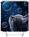 XCMMK 3D Duschvorhang aus Polyester mit 12 Duschvorhangringe für Badezimmer Katze, die zum Sternenhimmel aufschaut wasserabweisend & Anti-Schimmel waschbare badvorhang (180 x 200 cm)