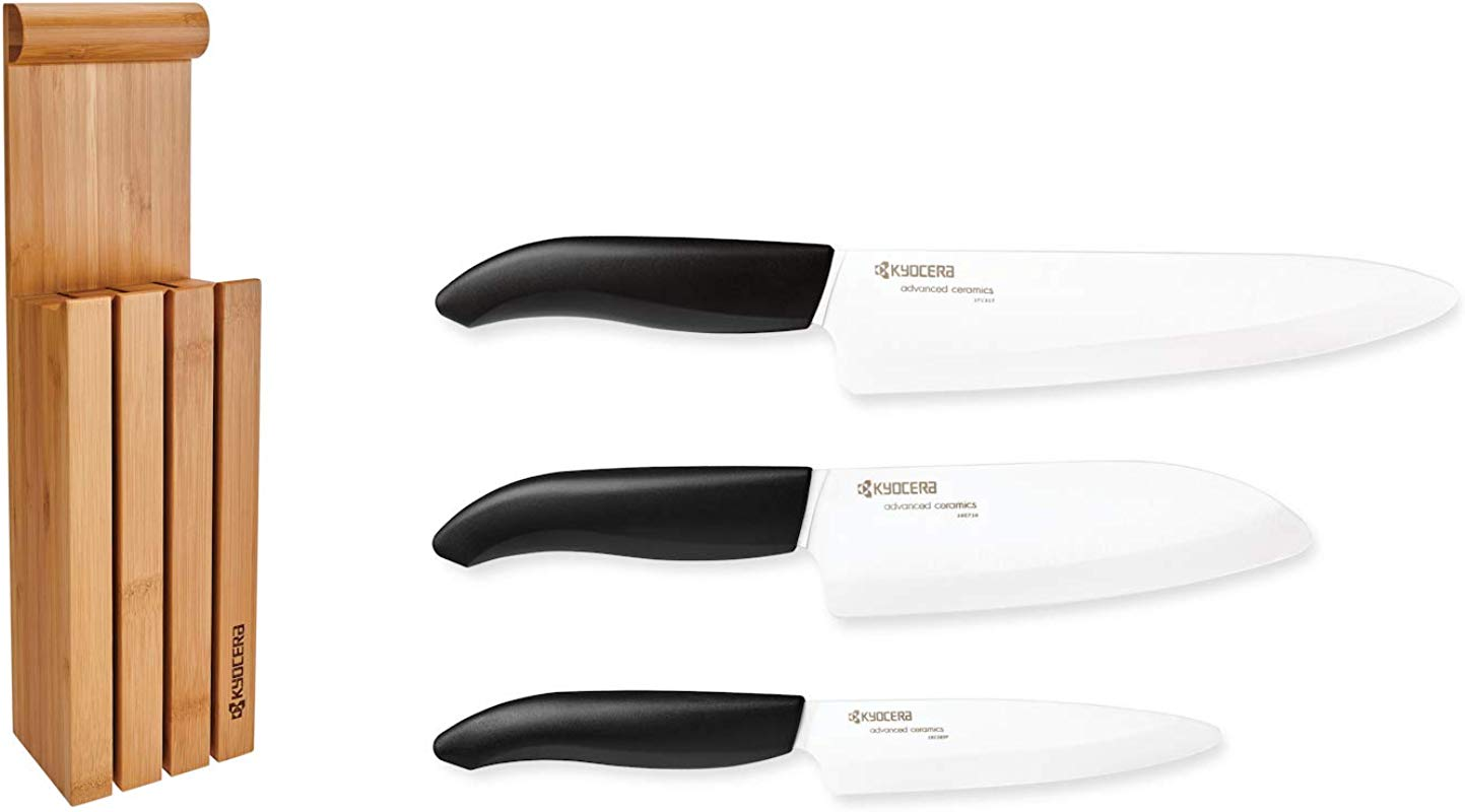 Kyocera 4 Piece Essential Knife Block Set Includes 3 Ceramic Knives And Bamboo Block Revolution Series Black Handles W White Blades