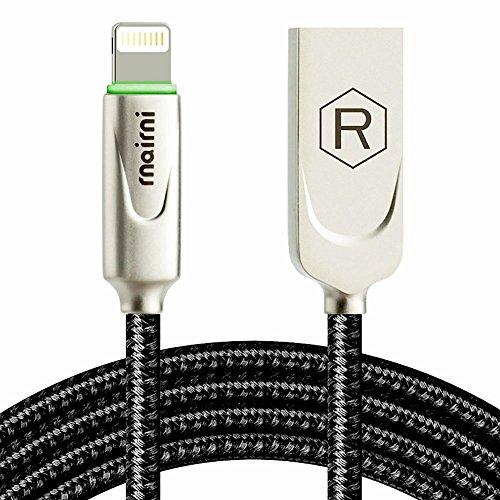 rnairni iPhone USB Charger Smart LED Auto Disconnect Charge Cable - 6FT/1.8M Length Nylon Braided Charge Compatible iPhone X iPhone 8 7/7 Plus 6/6 Plus 6s/6s Plus 5s iPad Mini iPod
