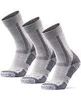 Merino Wool Hiking & Walking Socks 3 pack (Light Grey, US Women 8-10 // US Men 6.5-8.5)