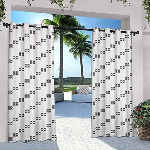 Cortinas geométricas para patio al aire libre, diseño de Oriente Medio, formas cuadradas con alineación diagonal monocromo, aislamiento térmico, sombreado e impermeable, 120 x 72 pulgadas, gris beige