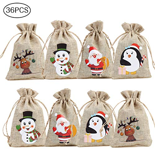 CCINEE 36pc Christmas Linen Bags with Drawstrings Christmas Burlap Goody Gift Bags with Double Jute Drawstrings, 4 Designs Snowman, Santa Claus, Penguin and Elk