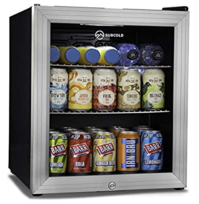 Subcold Super50 LED – Mini Fridge Black | 50L Beer, Wine & Drinks Fridge | LED Light + Lock and Key | Low Energy A+ (Stainless Steel) by Subcold
