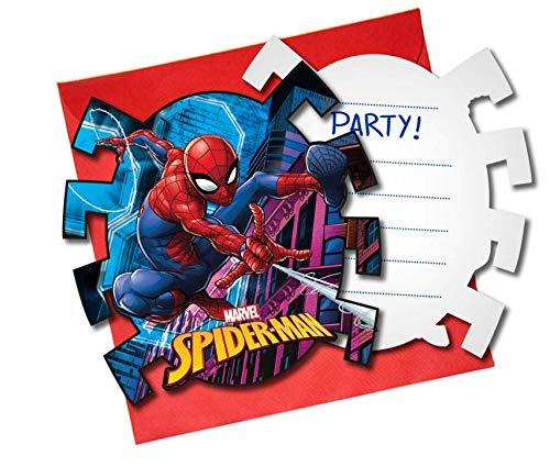 Procos 89453 - Einladungskarten mit Umschlägen Spiderman Team Up, 6 Stück, Kindergeburtstag
