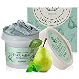 SKINFOOD Pear Mint Food Mask 120g (4.23 oz.) - Pore & Sebum Clearing, Skin Cooling Bubbles Scrub Wash-off Mask with Rice Powder, Soothing & Hydrating, Shower-Proof Texture
