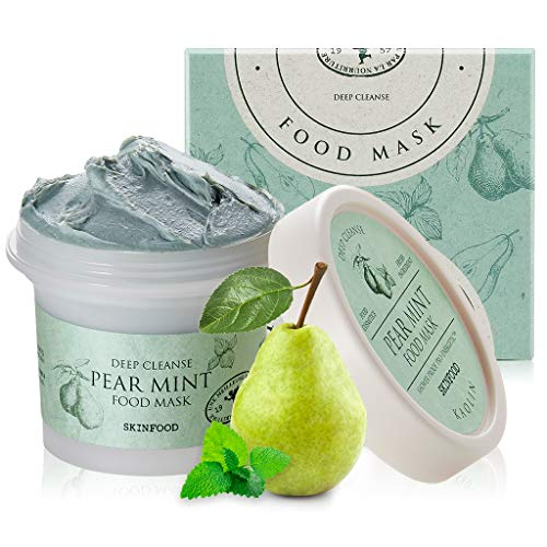 SKINFOOD Mask Pear Mint 120g - Facial Pore Cleanser, Soothing & Hydrating Body Skin - Pore & Sebum Clearing, Cooling Bubbles Scrub Wash Off Face Masks w/Rice Powder - Shower-Proof Texture (4.23 oz)