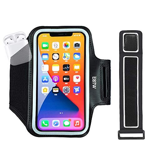Fascia da Braccio con Borsa Airpods - EOTW Portacellulare Porta Auricolare Bluetooth Braccio per iPhone 12/12 Pro/11/XR, Samsung S20/S10+, Redmi Note 9 Pro Porta Smartphone Fascia Running per 5-6.7''