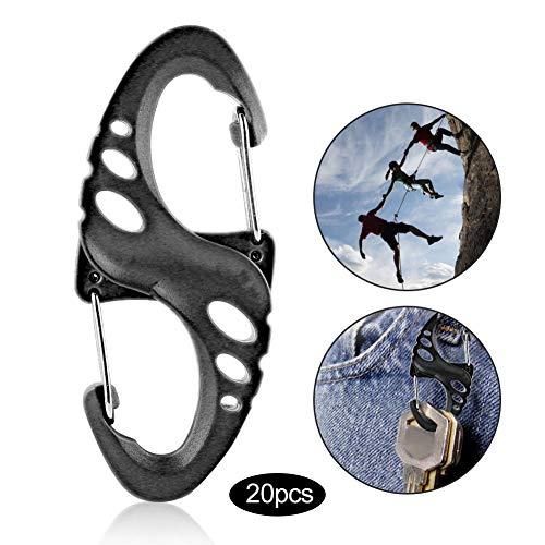 Karabijnhaak 20 stuks sleutelhanger clip S vorm outdoor berggesp kunststof staal karabijnhaak vedersteeksleutelhanger clip voor tas, sleutels zwart