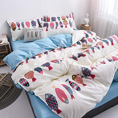 CYGJ Three-piece or four-piece set of fashionable bedding with zippersSmall fishFour sets of 1.8m bed