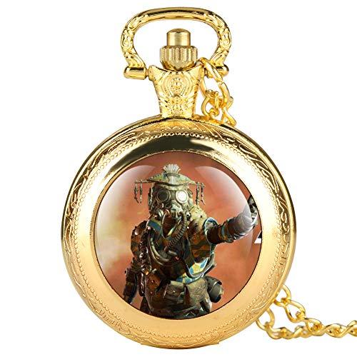 Apex Online Games Series - Reloj de bolsillo para hombre, diseño creativo de oro con doble cubierta de reloj para niño, reloj de bolsillo digital árabe clásico para amigos