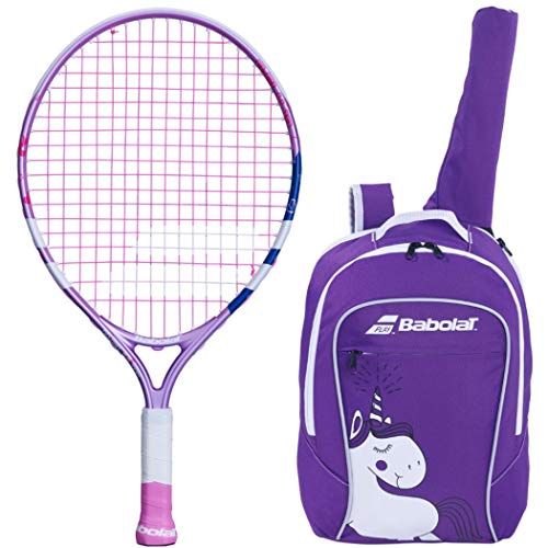 """Babolat B'Fly 19"""" Inch Child's Tennis Racquet/Racket Kit or Set Bundled with a Purple Junior Tennis Backpack (Best Back to School Gift for Boys and Girls)"""