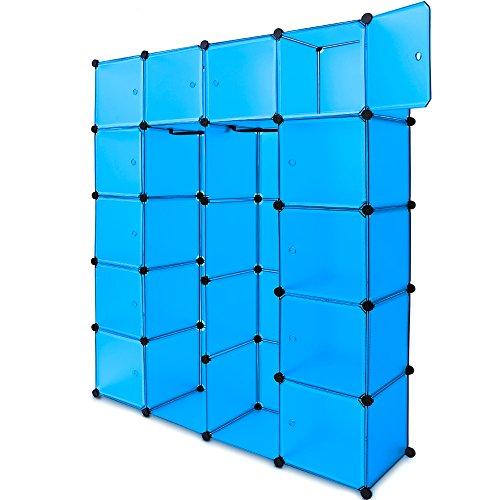 Deuba Regalsystem 12 Boxenfächer Steckregal Kleiderschrank DIY Garderobe Schuhregal Kunststoffboxen in blau
