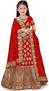 New Fashion Adda Girl's Raw Silk Taffeta Satin Semi-Stitched Lehenga Choli (Red, 5-6 Years)