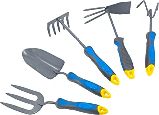 Hortem 5PCS Lightweight Gardening Hand Tools Set- Heavy Duty Comfortable Garden Tools Set Include Garden Trowel, Hand Rake Hoe, Cultivator- Gardening Gifts for Men Women