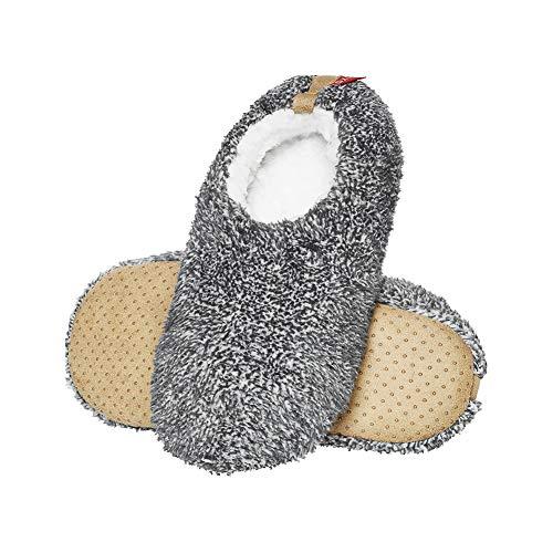 soxo Herren Plüsch Fluffy Hausschuhe | Größe 43-44 | Bequeme Weiche Flauschige Pantoffeln | Männer Hausschlappen mit rutschfeste elastische Sohle | Hellgrau