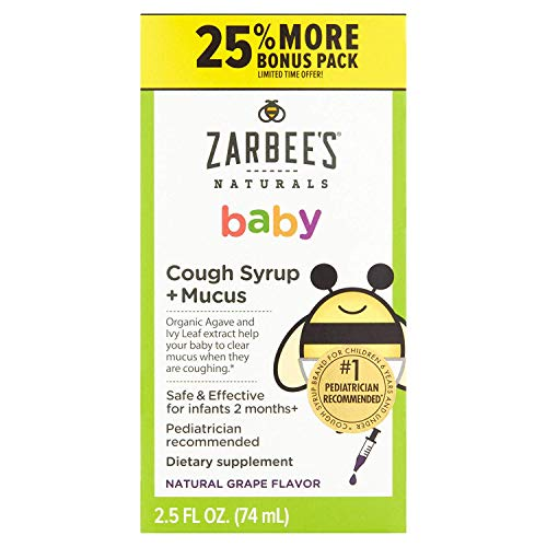 Zarbee's Naturals Baby Natural Grape Flavor Cough Syrup Mucus, 2.5 fl oz