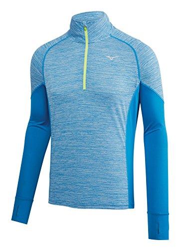 Mizuno Running Mens Alpha Long Sleeve Shirt, Directoire Blue-Yellow, x Large (X-Large)