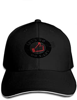 Hip Hop Baseball Cap Adjustable Denim Jean Hat Lets go Rubber Stamp Grunge Design dust Scratches Effects can be Easily Removed Clean Crisp Look co