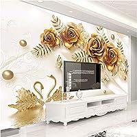 Iusasdz カスタム写真壁画ヨーロピアンスタイル3Dラグジュアリーゴールデンローズスワンシルク壁紙リビングルームテレビソファベッドルーム3D-350X250Cm
