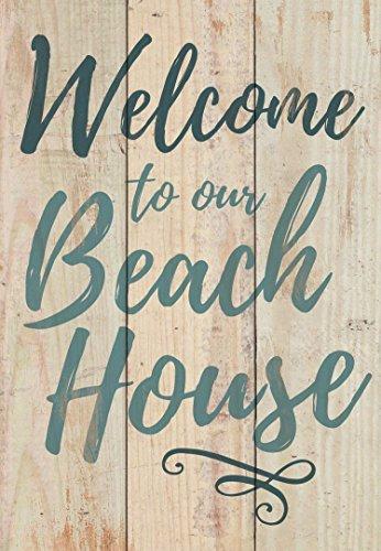 qidushop Holzschild Welcome to Our Beach House, natürliches Dekorationsschild für Zuhause, zum Basteln, für Damen und Herren