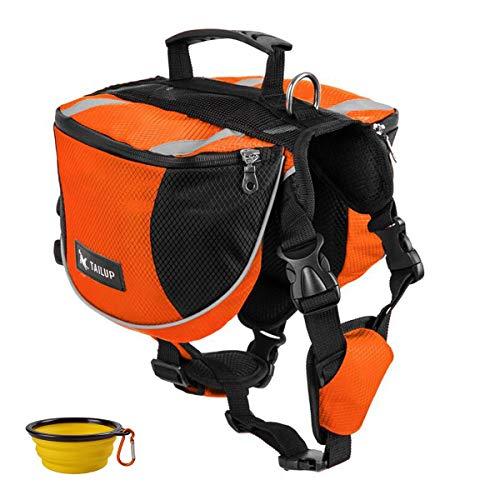 Homiego Dog Saddlebags Hound Travel Hiking Camping Backpack Saddle Bag for Small Medium Large Dogs (Orange, L)