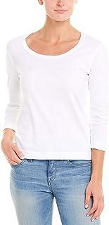 Three Dots(スリードッツ) レディース 7分袖 プレイガール スクープネック Tシャツ