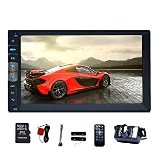 "EinCar 7"" Touch Screen Double Din Car Stereo MP5 Player in Dash GPS Navigation AM FM Radio MP3 Audio 1080P Video Player Support Bluetooth/USB/TF/AV-in/RCA Output/EQ/Rear View Camera+Remote Control"