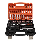 Cassetta degli attrezzi per riparazioni auto da 53 pezzi, kit di riparazione per chiavi a bussola in acciaio al cromo vanadio per strumento di riparazione del veicolo
