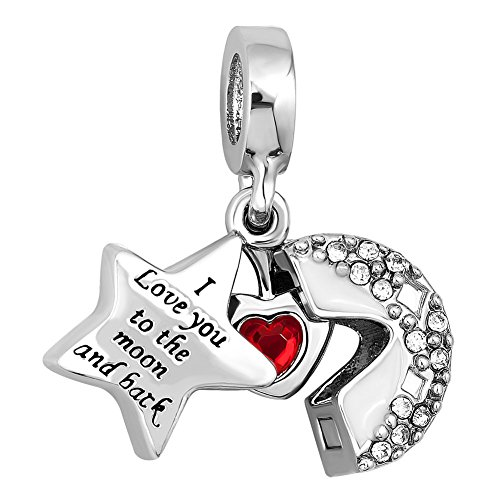 UNIQUEEN I Love You to The Moon and Back Star Charms Beads fit Charm Bracelet