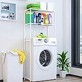 Mueble de almacenamiento para inodoro, estantería para ahorrar espacio de baño, estantería de lavadora, soporte de suelo para baño, 68 x 27,8 x 134 cm, color blanco