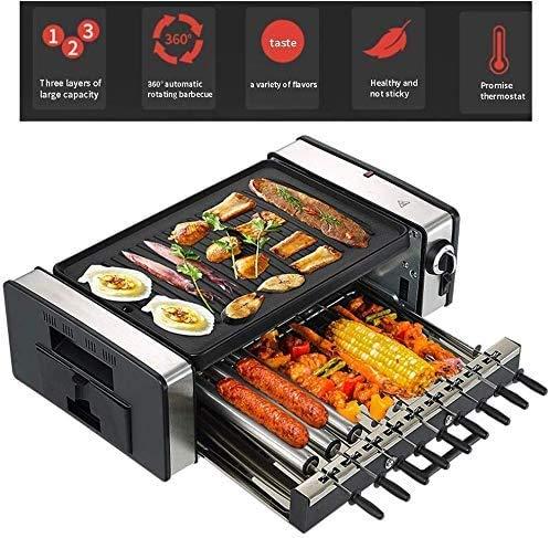 GBG Automatische Rotierende Spieße, Home Rauchfreier Elektroofen Eisenplatte Grill Fleischmaschine Antihaft-Elektrobackform,Schwarz