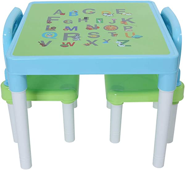 ASOBIMONO Kids Activity Table And Chairs Set Toddlers Play Around Tables With Alphabet For Boys Girls Studying Playing Dining US Stock Light Blue 20x20x17 31 Inch