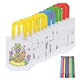 FORMIZON DIY Sacs à Main Réutilisables, 12 Pcs Sac a Colorier + 12 Crayons Textiles, Sac Fourre-Tout Graffiti, Sac de Peinture DIY Cadeaux de Fête d'anniversaire Bricolage pour Les Enfants