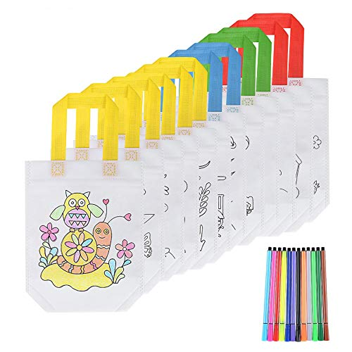 FORMIZON DIY Sacs à Main Réutilisables, 12 Pcs Sac a Colorier + 12 Crayons Textiles, Sac...