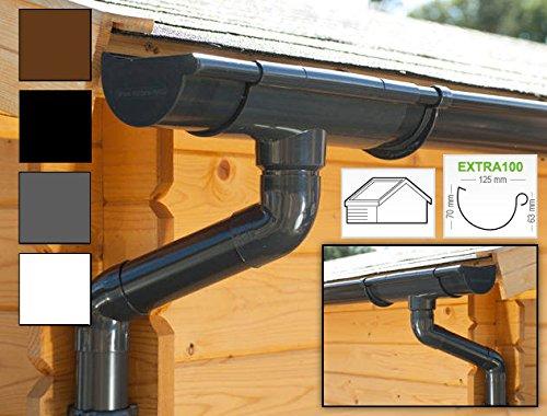 Dachrinnen/Regenrinnen Set | Satteldach (2 Dachseiten) | Extra100 | in anthrazit, weiß, braun oder schwarz! (Komplettes Set bis 10.50 m, Anthrazit)