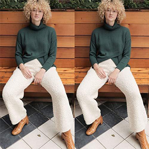 Pantalones Rectos elásticos de Cintura Alta Sueltos Gruesos cálidos cálidos de Invierno Pantalones Casuales Sueltos 4 XL