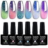 Allenbelle Colour Changing Nail Polish Set Color Changing Gel Polish Set Mood Soak Off Uv Led Color...