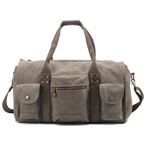 5 ALL 5 ALL Reisetasche Unisex Großraum Canvas Leder Weekender für Reise Urlaub Sporttasche Vintage (Grün)