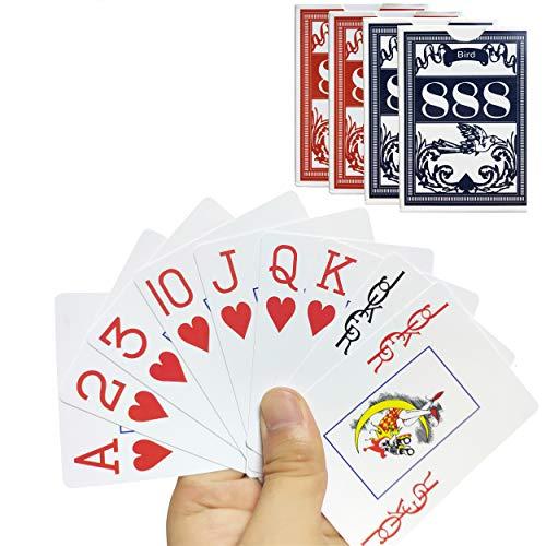 4PCS Plastic Playing Cards Jumbo Index Waterproof Fits Bridge Poker, Go Fish, Poker, Blackjack, Hearts Card Games for Pool Beach Water (2 PCS Blue+2 PCS RED)